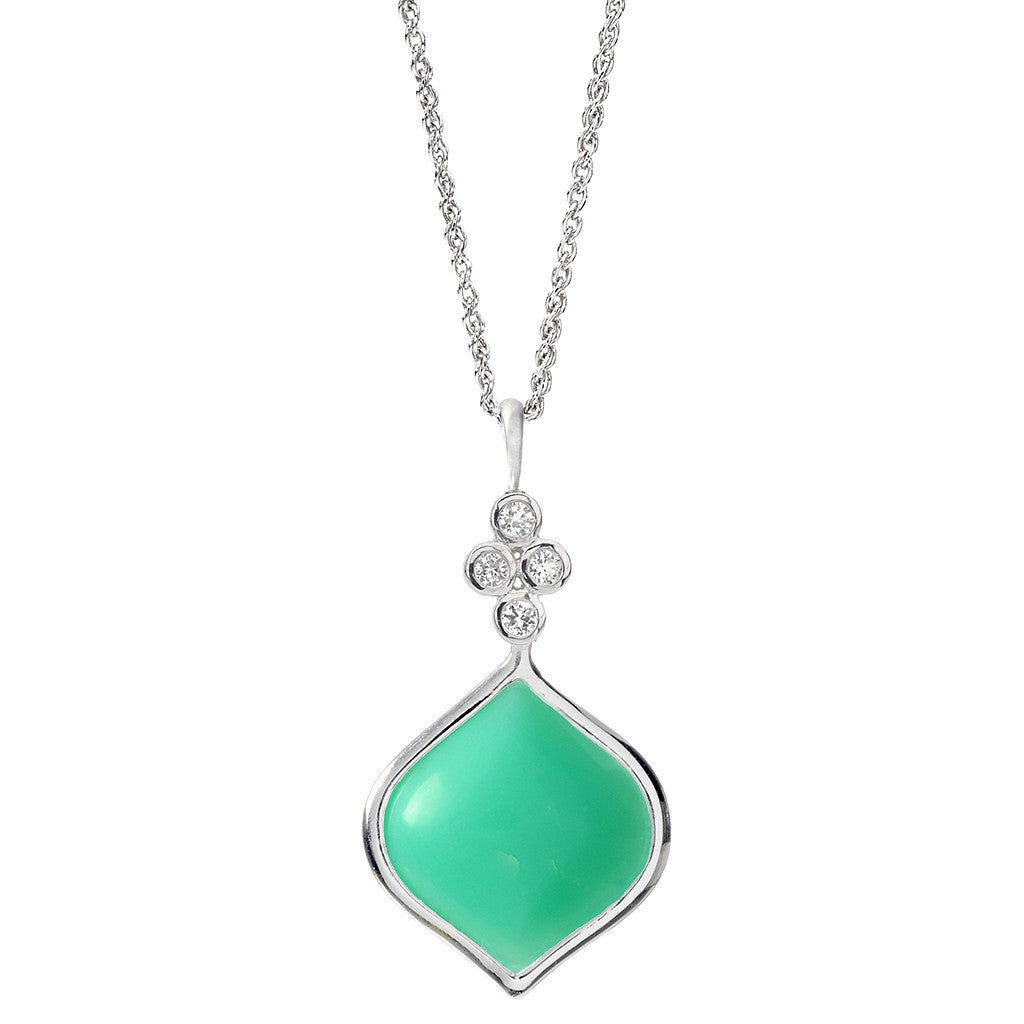 Simone Pendant Necklace in White Sapphires & Chrysoprase in Sterling Silver - SALE
