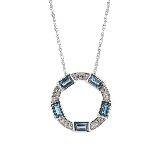 Baguette Deco Necklace in London Blue Topaz & White Sapphires in Silver
