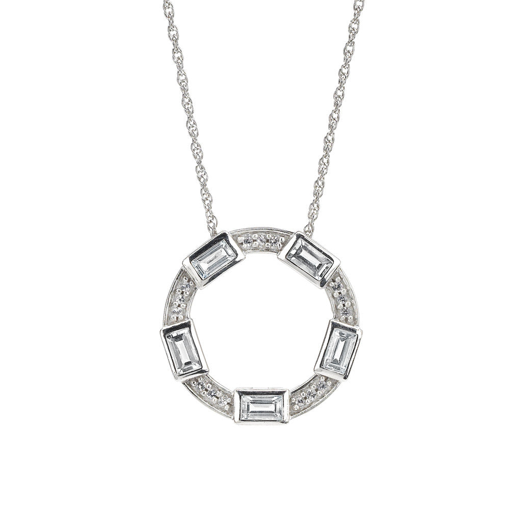 Baguette Deco Pendant in White Topaz & Sapphire in Sterling Silver