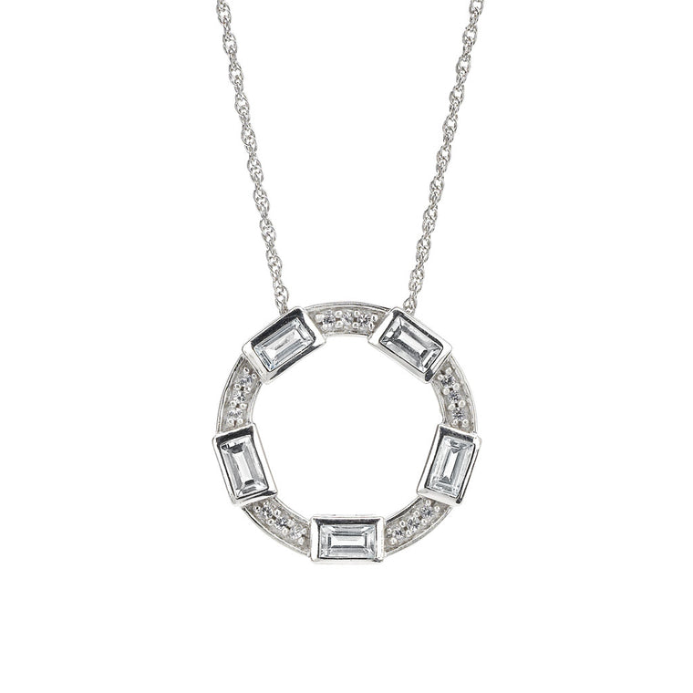 Baguette Deco Necklace in White Topaz & Sapphire in Silver