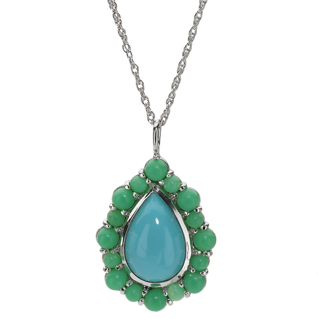 Pear and Round Cabochon Pendant Necklace in Kingman Mine Turquoise and Chrysoprase