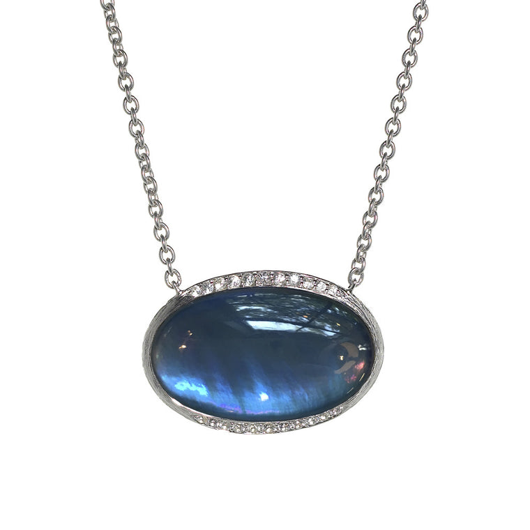 Hallie Pendant Necklace in Created London Blue Topaz over Mother of Pearl - Sterling Silver - Newly Added