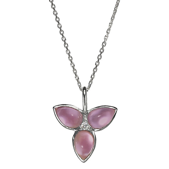 *SPECIAL ORDER* Mariposa in Flight Necklace in Created Amethyst over Mother of Pearl and White Sapphire in Sterling Silver - USE CODE SPECIALORDER50 and only pay a 50% deposit of $112.50