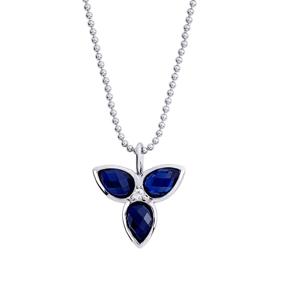 Mariposa Necklace in Created London Blue Sapphire & White Sapphire in Silver