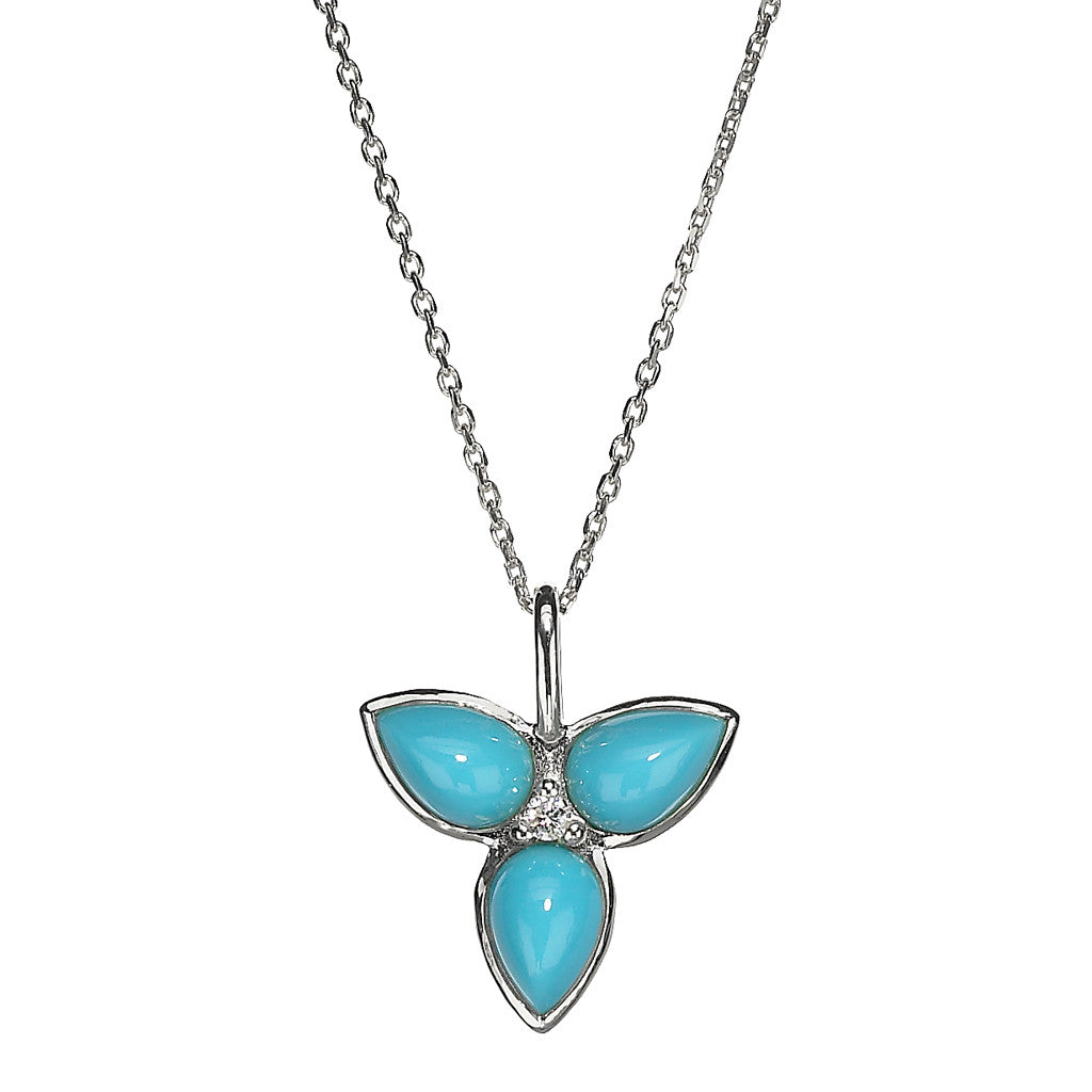 *SPECIAL ORDER* Mariposa in Flight Necklace in Kingman Mine Turquoise and White Sapphire in Sterling Silver - USE CODE SPECIALORDER50 and only pay a 50% deposit of $105