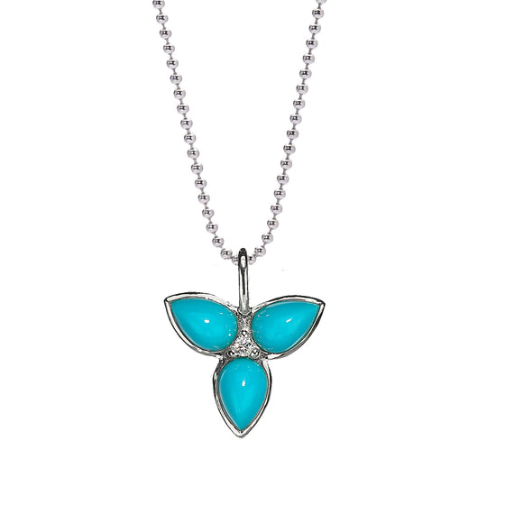 *HIDDEN GEM* Mariposa Necklace in Turquoise & White Sapphire in Silver - PRICE IS $75 WHEN USE CODE SUMMERFINAL50 FOR 50% OFF