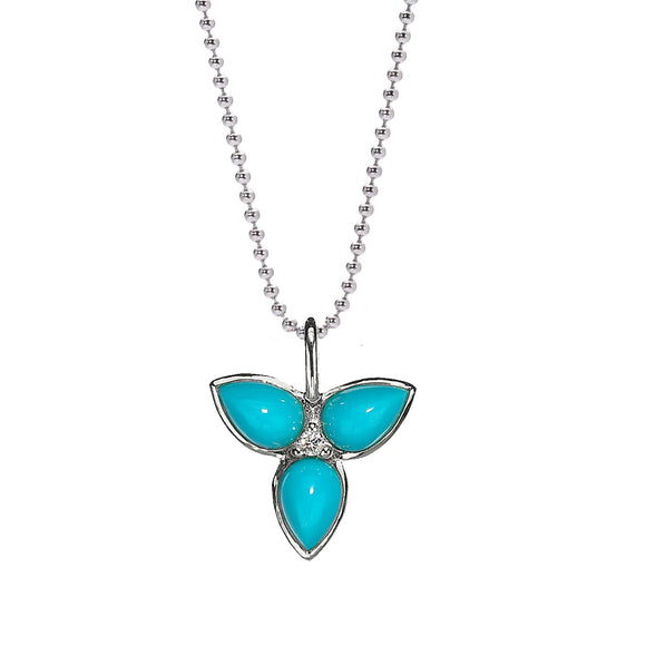 Mariposa Necklace in Turquoise & White Sapphire in Sterling Silver