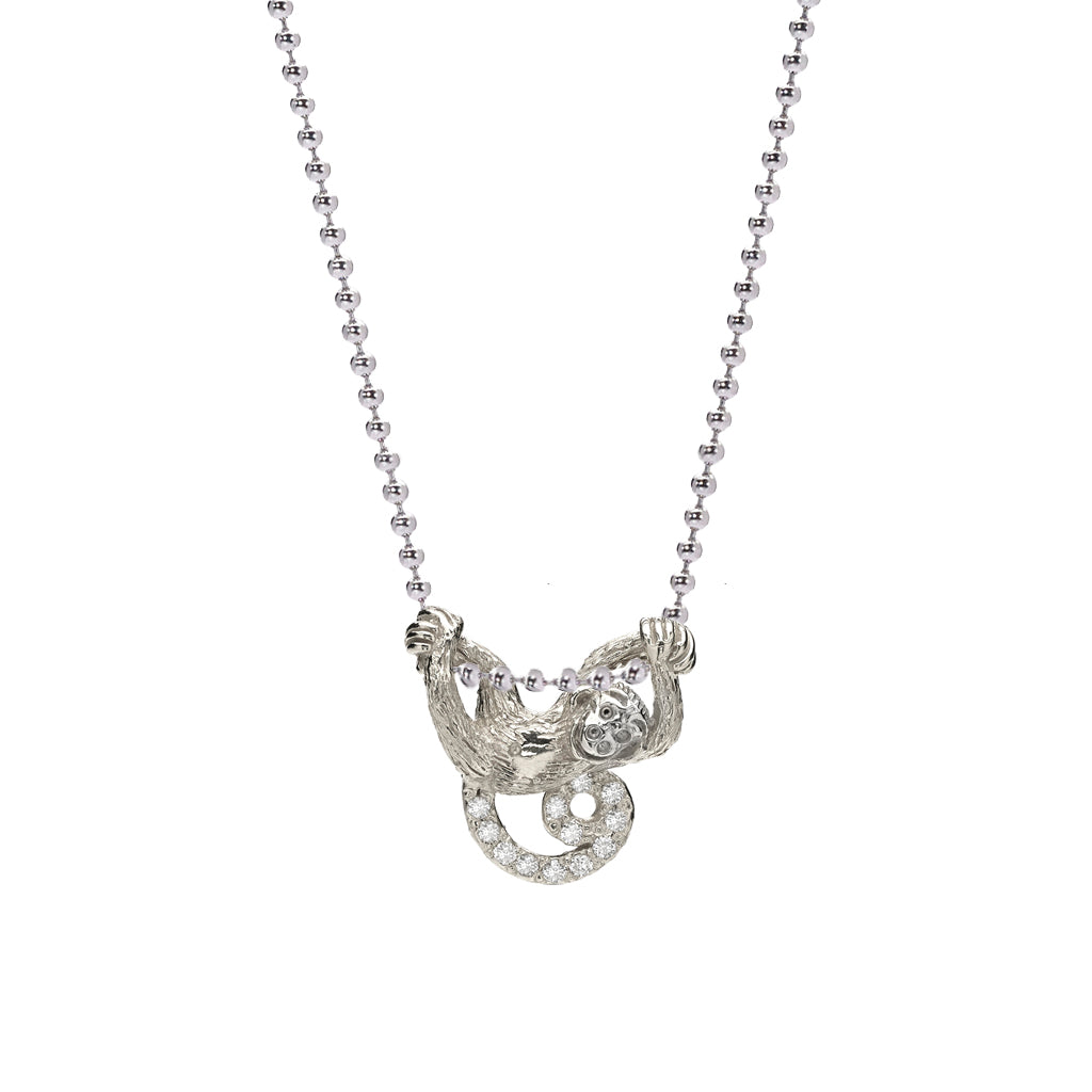 Silver & White Sapphire Swinging Monkey Necklace