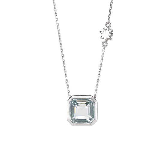 Asscher Cut Ocean Blue Quartz Single Drop Necklace with Hope Star Detail