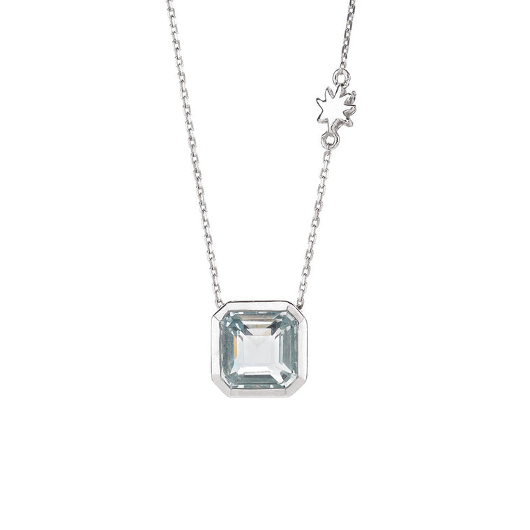 Asscher Cut Blue Quartz Necklace - HopeStar Charm Chain in Silver - PRICE IS $89 WHEN USE CODE SUMMERFINAL50 FOR 50% OFF