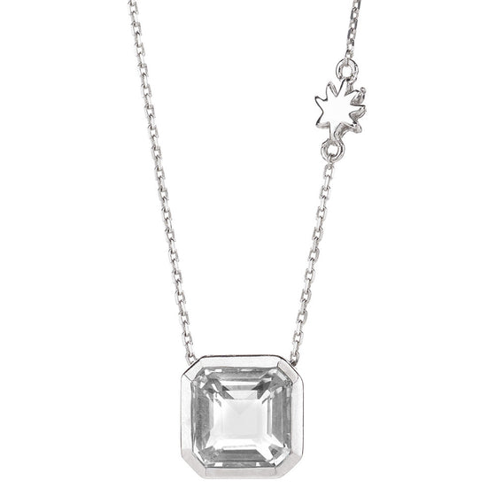Asscher Cut White Quartz Single Dop Necklace with Hope Star Detail all in Sterling Silver - USE CODE SPRING30 FOR AN EXTRA 30% OFF