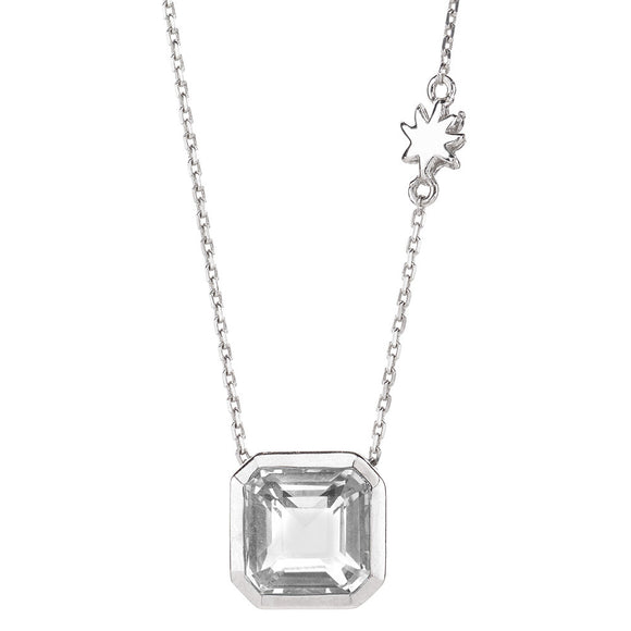 Asscher Cut Quartz Necklace with HopeStar Charm Chain in Silver