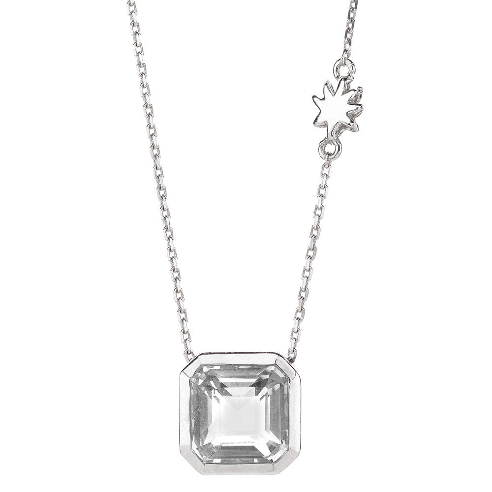 Asscher Cut White Quartz Single Drop Necklace with Hope Star Detail all in Sterling Silver
