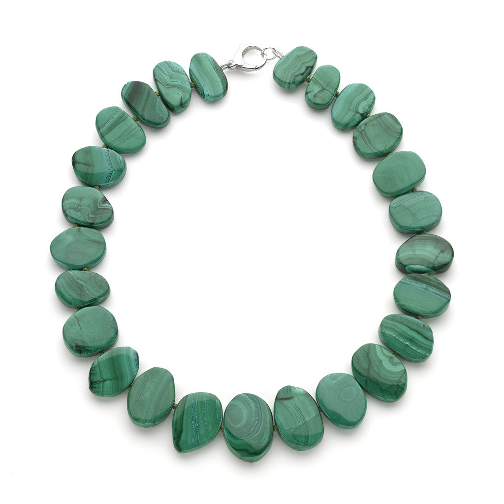 Malachite Flat Gem Necklace Hand-Knotted on a Green Silk Cord