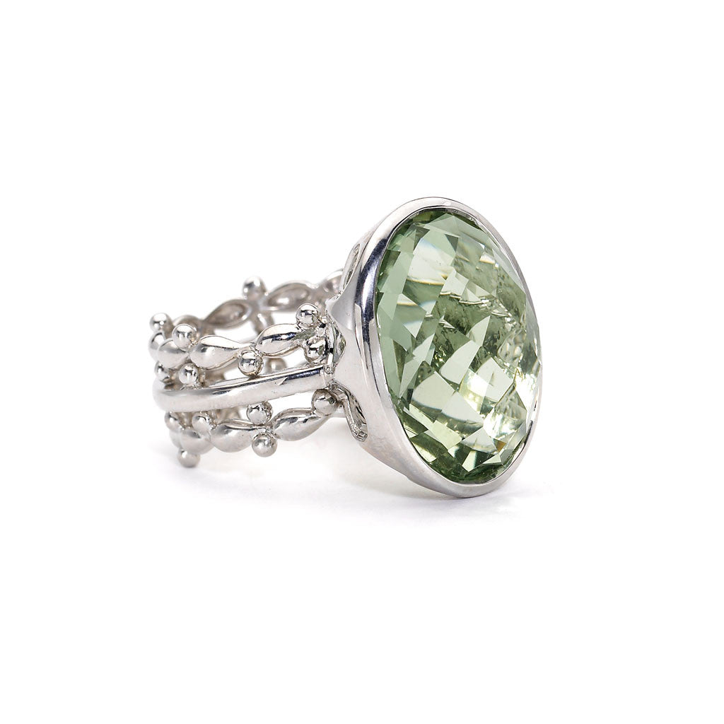 Green Amethyst Oval Bowl Ring in Sterling Silver