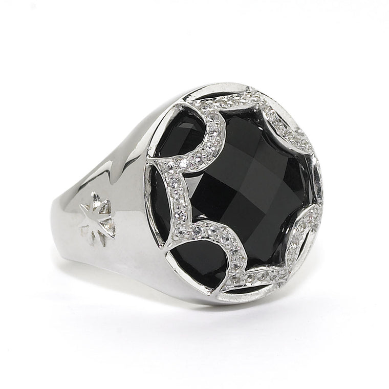*SPECIAL ORDER* Maltese Cabochon Ring in Black Onyx & White Sapphires in Sterling Silver - USE CODE SPECIALORDER50 and only pay a 50% deposit of $232