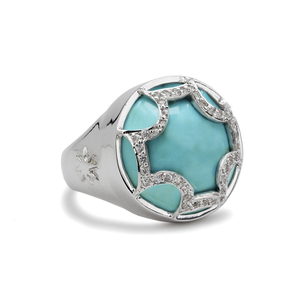 Maltese Cabochon Ring in Kingman Mine Turquoise & White Sapphires in Sterling Silver - USE CODE HOORAY50 FOR 50% OFF