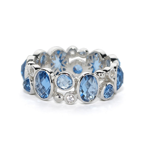 Madeleine Eternity Ring in Created London Blue Topaz & White Sapphires - Sterling Silver - Newly Added.