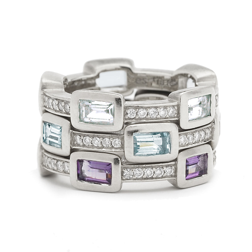*SPECIAL ORDER* Baguette Deco Puzzle Ring with Amethyst Baguettes & White Sapphires in Silver - USE CODE SPECIALORDER50 and only pay a 50% deposit of $167.50