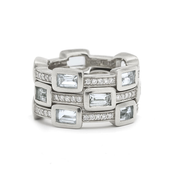 *SPECIAL ORDER* Baguette Deco Puzzle Stack Ring in White Topaz & White Sapphires in Silver - USE CODE SPECIALORDER50 and only pay a 50% deposit of $118