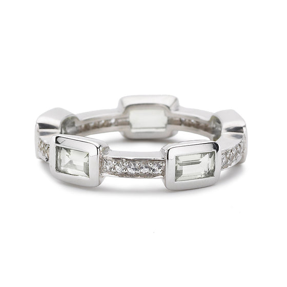 *SPECIAL ORDER* Baguette Deco Puzzle Stack Ring in White Topaz & White Sapphires in Silver - USE CODE SPECIALORDER50 and only pay a 50% deposit of $112.50