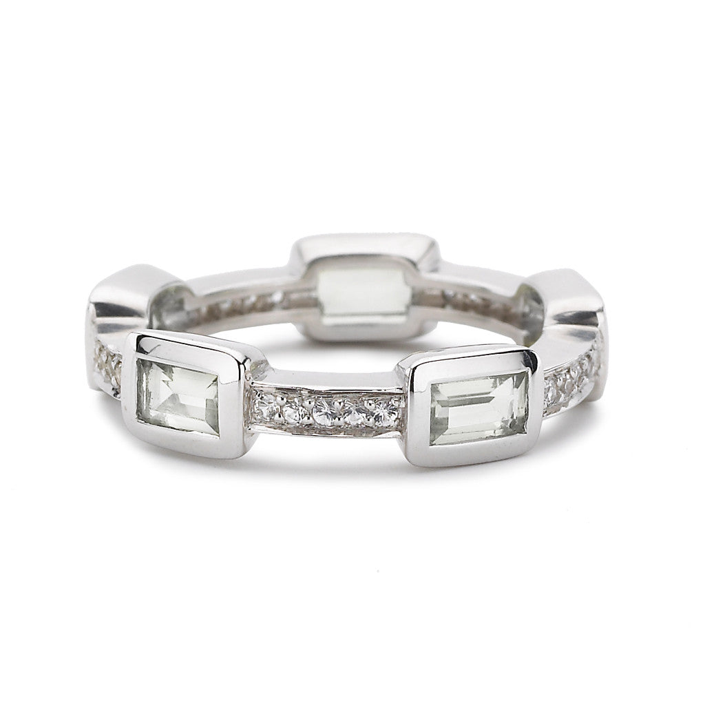 Baguette Deco Puzzle Ring in White Topaz & White Sapphires in Silver