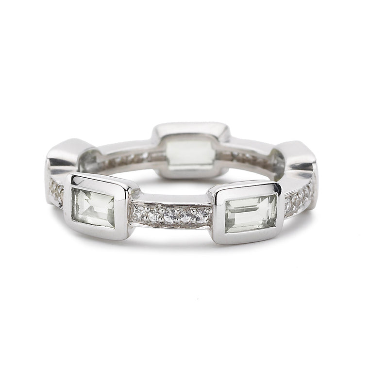 Baguette Deco Puzzle Stack Ring in White Topaz & White Sapphires in Silver