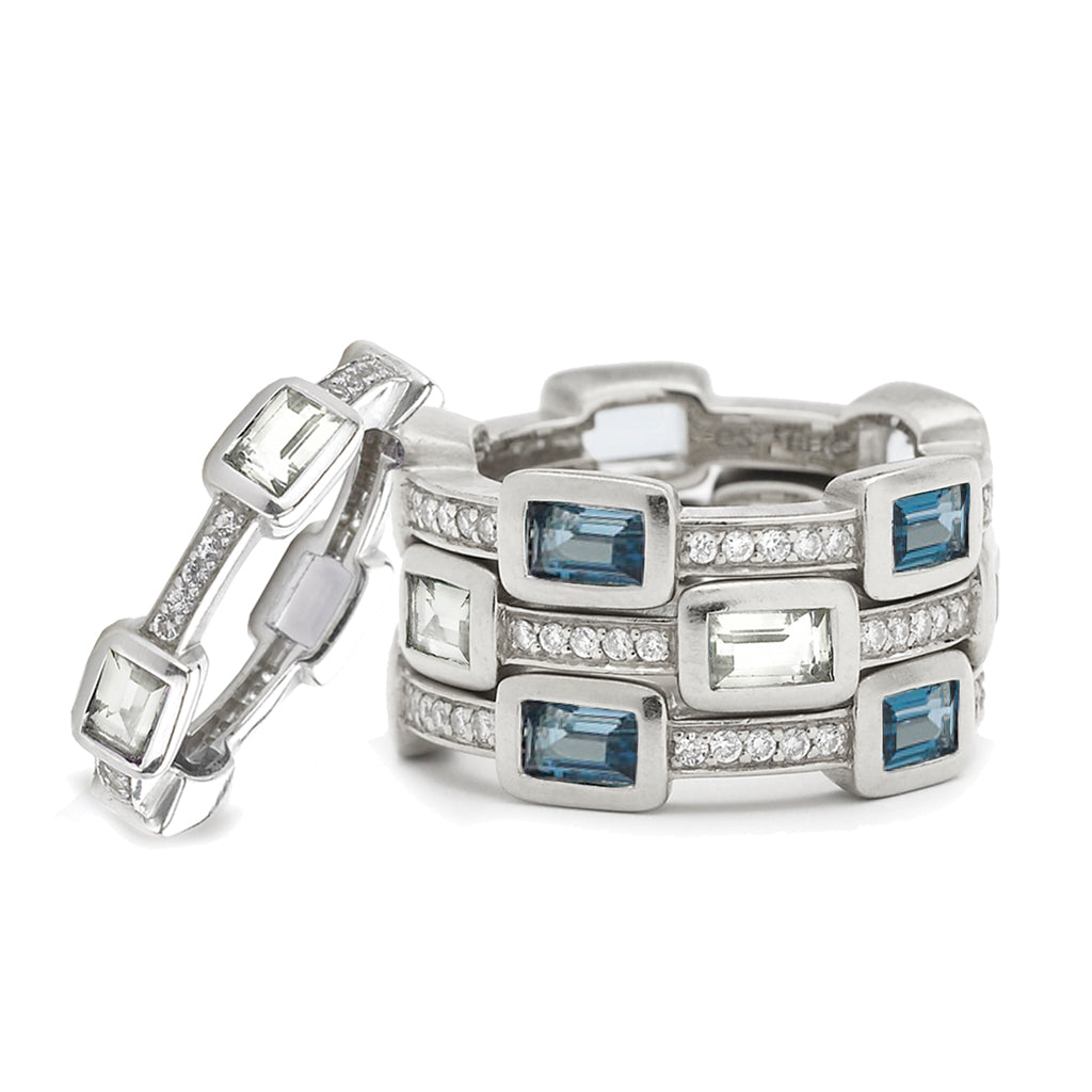 Baguette Deco Puzzle Ring with London Blue Topaz Baguettes & White Sapphires in Silver - USE CODE THEEND50 TO BUY FOR $167.50