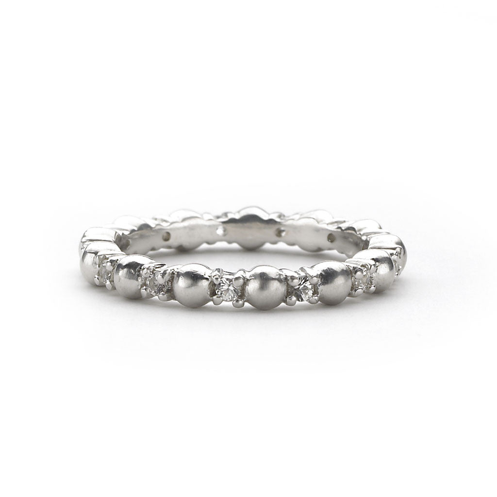 Ball & White Sapphire Ring in Sterling Silver - Newly Back in Stock