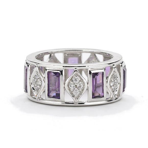 Simone Eternity Band in Amethyst Baguettes & White Sapphires - Sterling Silver