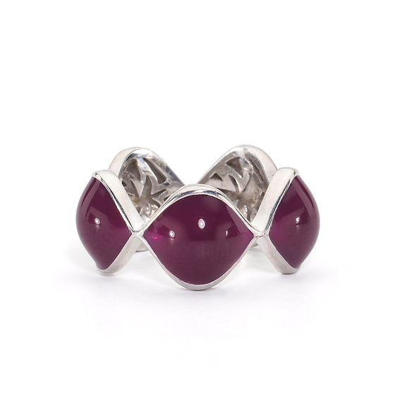 Simone Ring in Berry Enamel & Silver with Hidden HopeStars - USE CODE THEEND50 TO BUY FOR $46