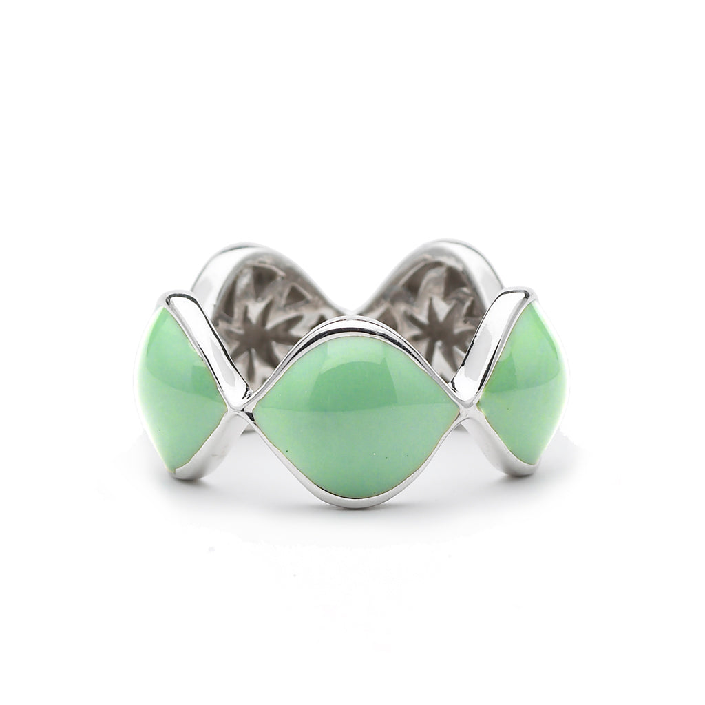 Simone Ring in Apple Green Enamel & Silver with Hidden HopeStars