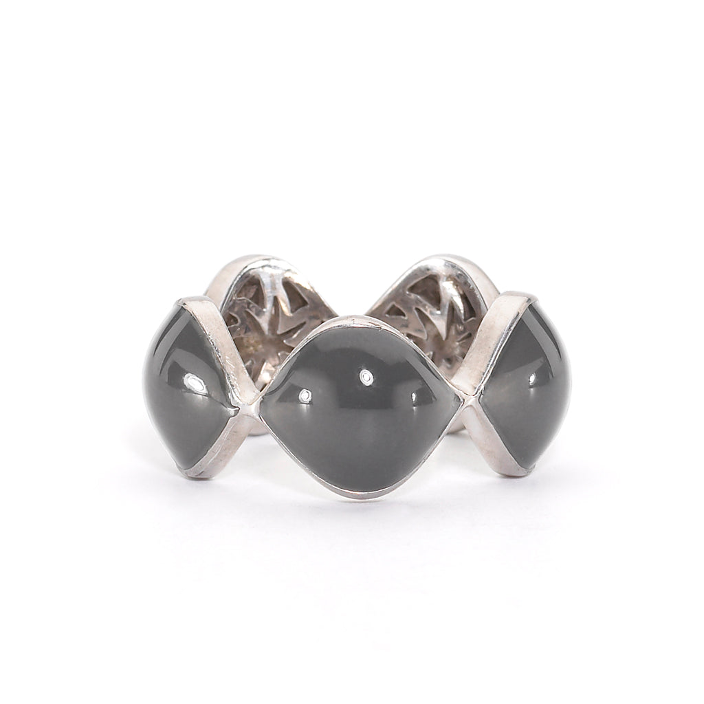 Simone Ring in Slate Grey Enamel & Silver with Hidden HopeStars - USE CODE THEEND50 TO BUY FOR $46
