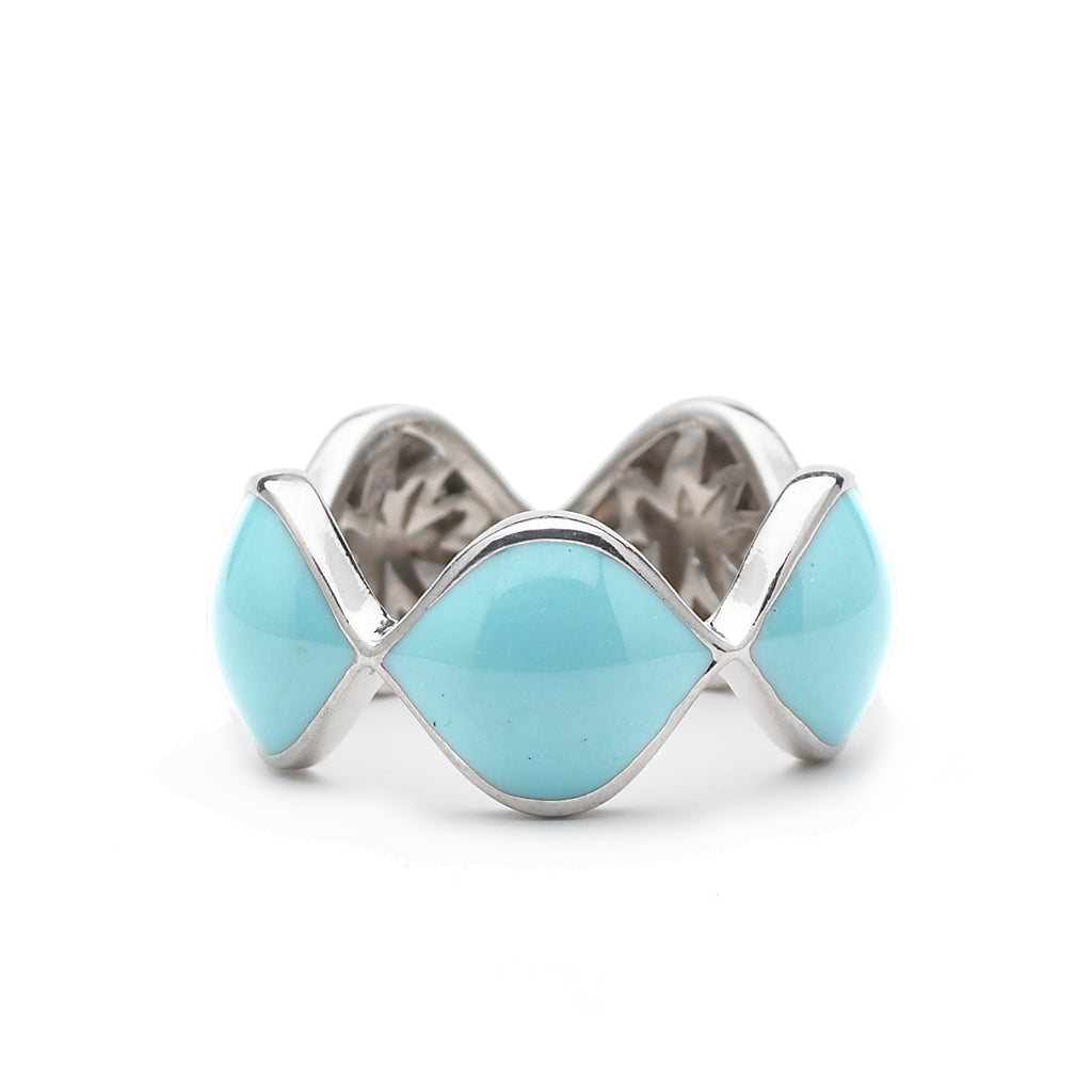 Simone Ring in Turquoise Enamel & Silver with Hidden HopeStars - USE CODE THEEND50 TO BUY FOR $46