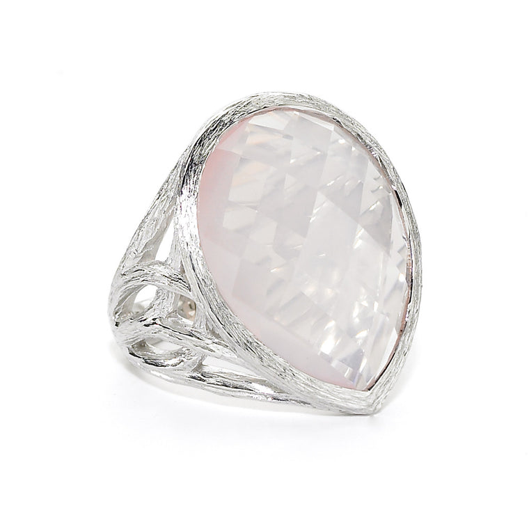 Cecilia Tree of Life Teardrop Ring in Rose Quartz - Sterling Silver - Newly Added