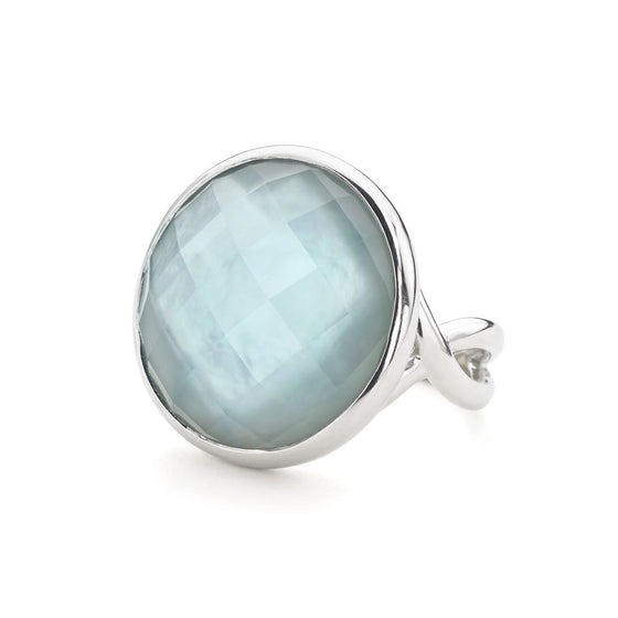 Icon Cocktail Ring in Ocean Blue Quartz in Sterling Silver