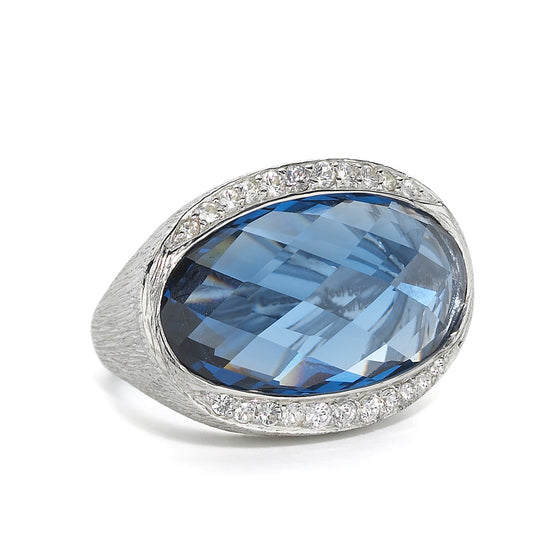Created London Blue Topaz & White Sapphire Hallie Ring - Sterling Silver, Newly Added
