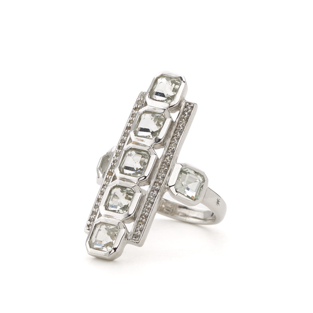 Asscher Cut White Quartz & White Topaz Deco Ring in Sterling Silver - PRICE IS $198 WHEN YOU USE CODE HOORAY50 FOR AN EXTRA 50% OFF