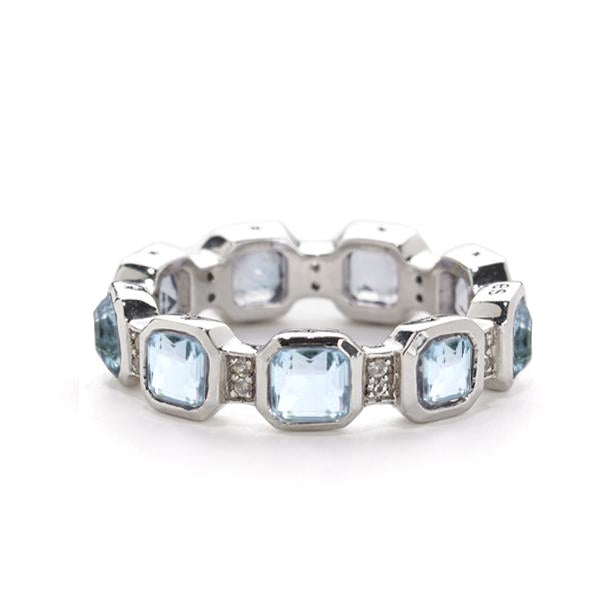 Asscher Cut Blue Topaz & White Topaz Stack Ring in Silver