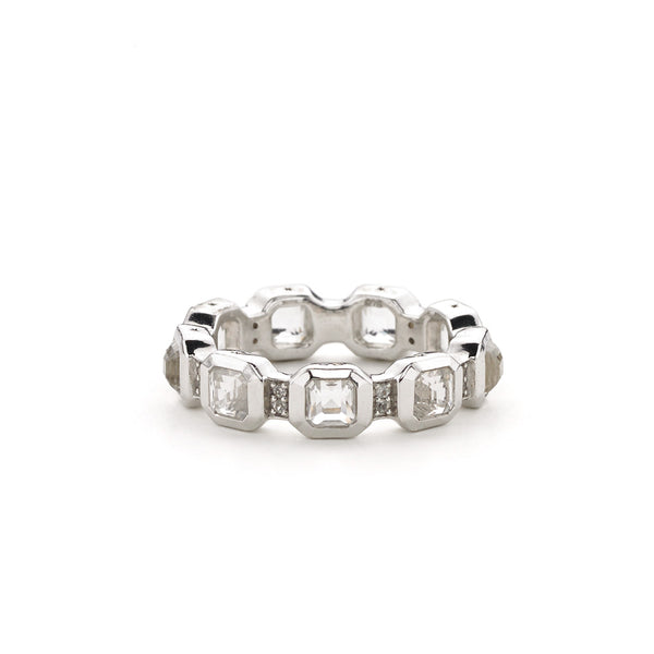 Asscher Cut White Quartz & White Topaz Stack Rings in Sterling Silver - USE CODE HOORAY50 FOR AN EXTRA 50% OFF