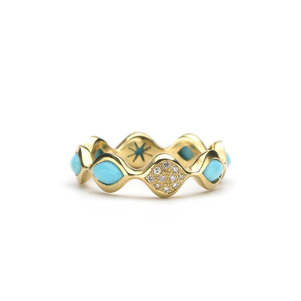 Simone Stack Ring in Kingman Mine Turquoise & Diamonds in 18kt Gold - USE CODE HOORAY50 FOR 50% OFF