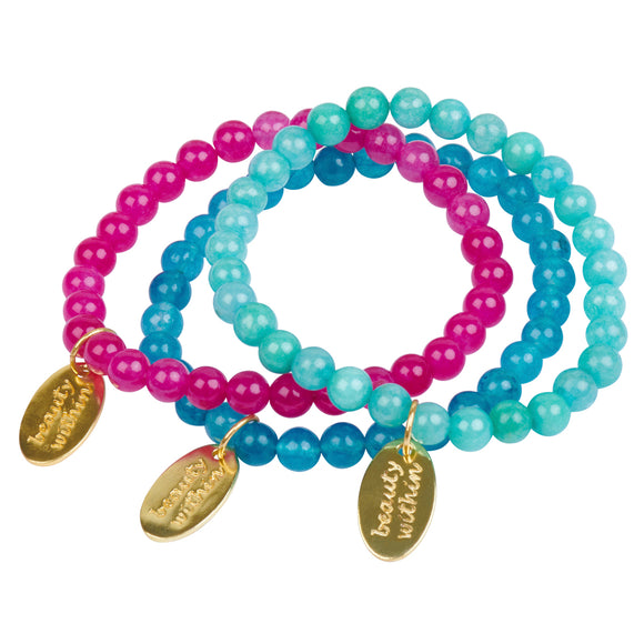 Beauty Within Dog Tag Stretch Bracelet in Amazonite in Gold - USE CODE THEEND50 TO BUY FOR $39