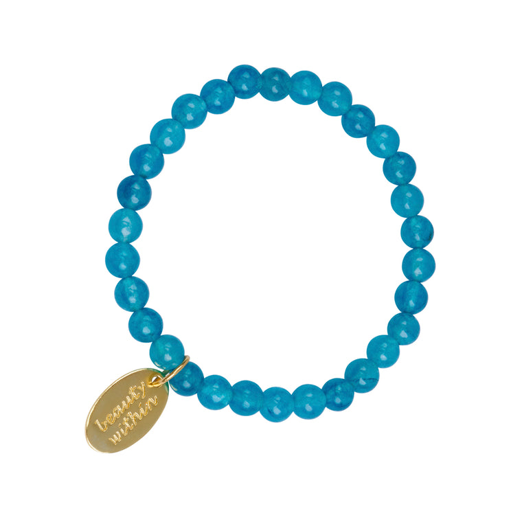 Beauty Within Dog Tag Stretch Bracelet in Deep Blue Quartz in Gold