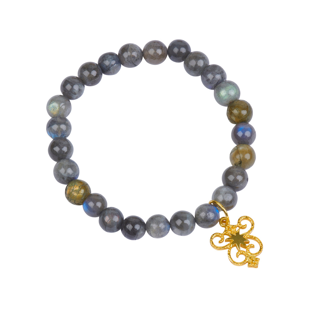 HopeStar Byzantine Shield Stretch Bracelet in Labradorite in Gold - USE CODE THEEND50 TO BUY FOR $39