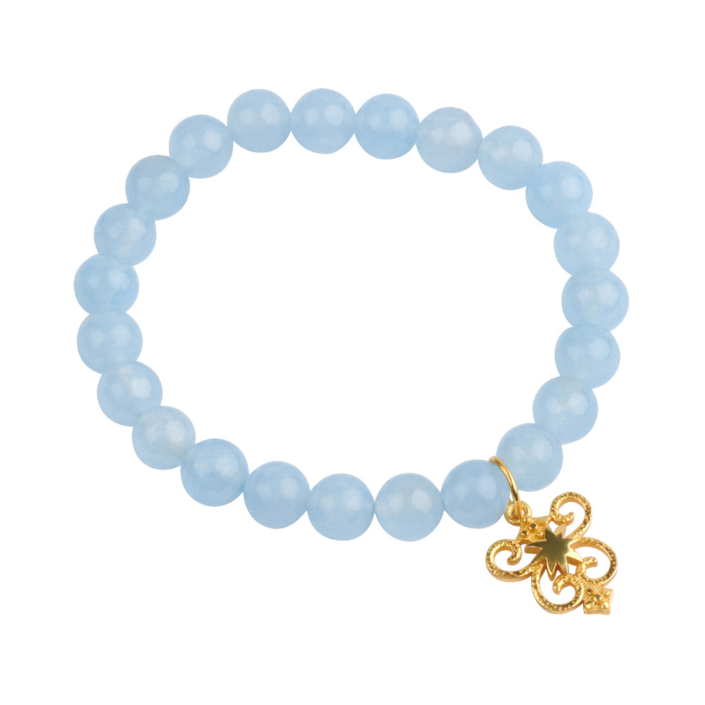 HopeStar Byzantine Shield Stretch Bracelet in Aqua Quartz