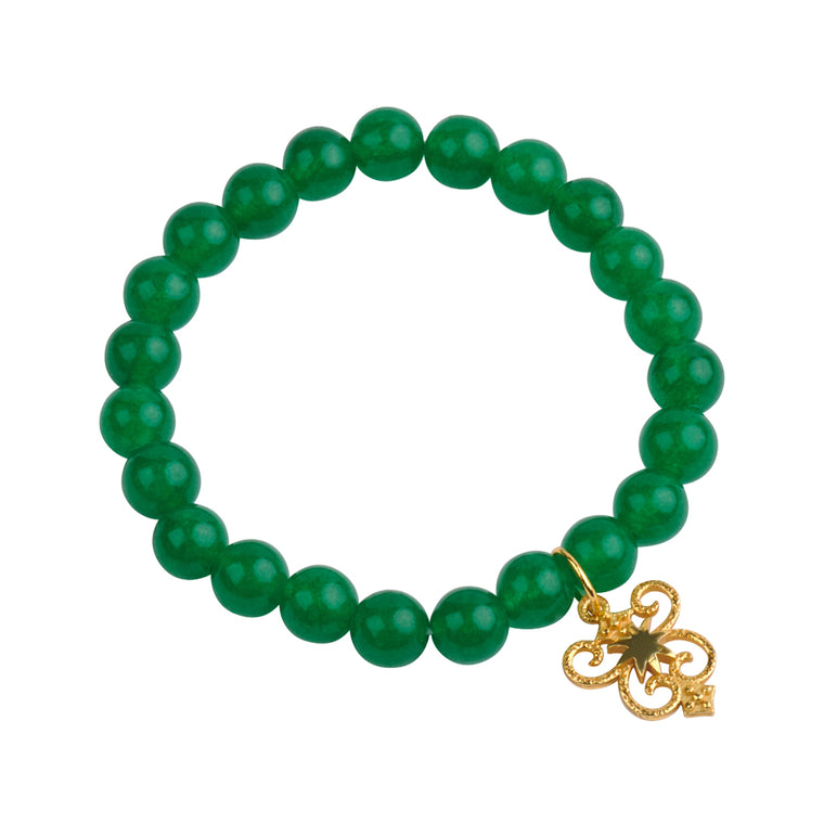 HopeStar Byzantine Shield Stretch Bracelet in Green Quartz