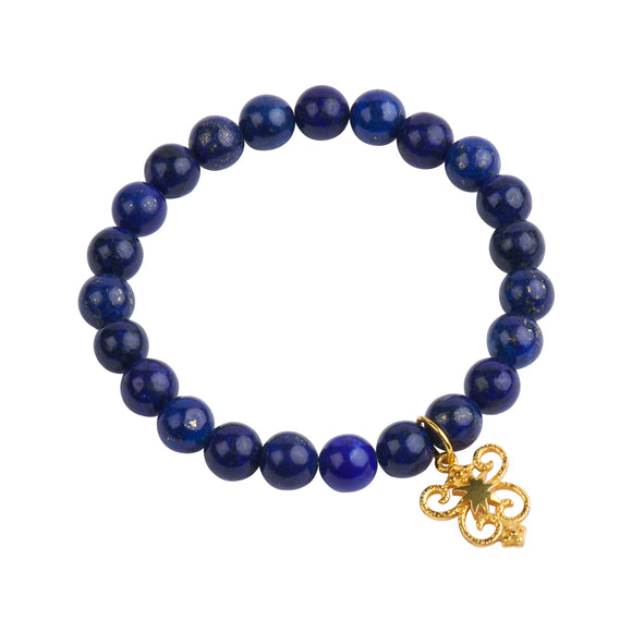 HopeStar Byzantine Shield Stretch Bracelet in Lapis