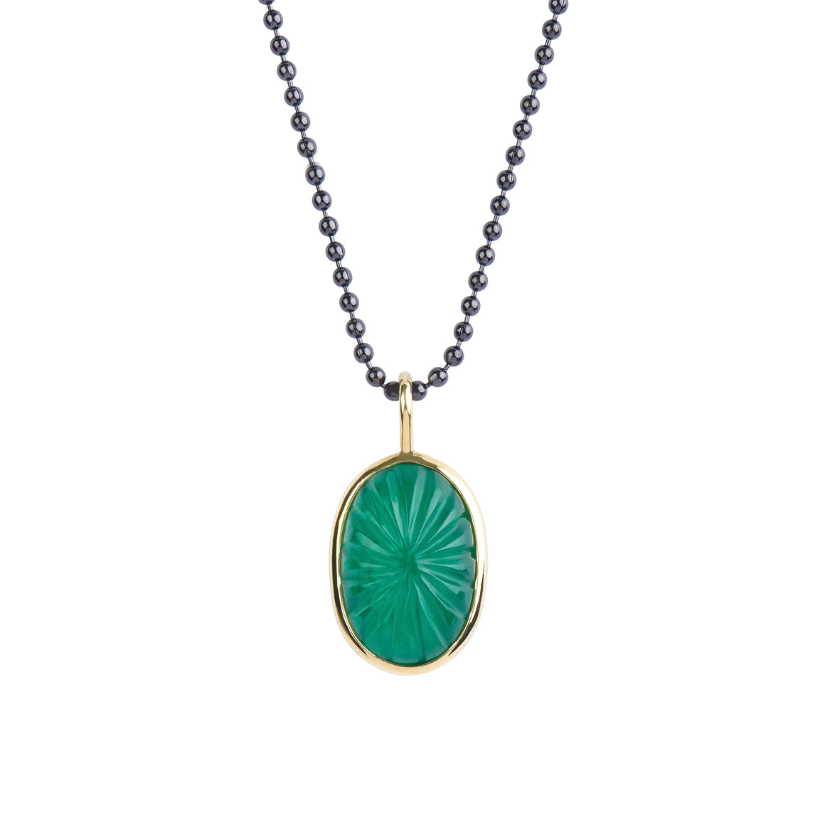 Carved White Quartz over Malachite Pendant in 18kt Yellow Gold