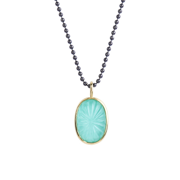 Hand-Carved White Quartz over Kingman Mine Turquoise Pendant in 18kt Yellow Gold