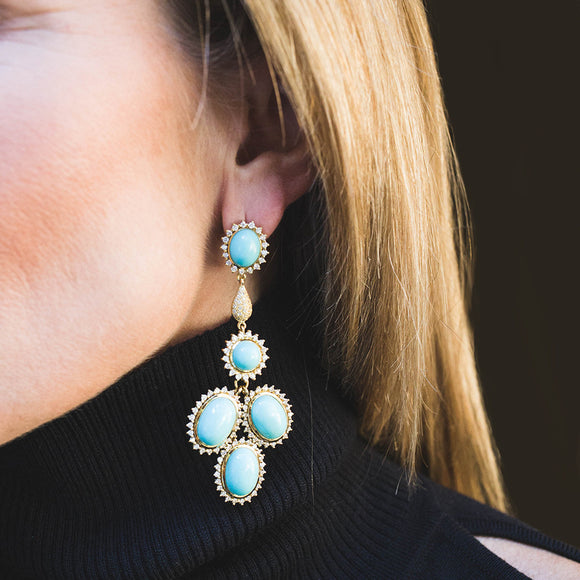 *SPECIAL ORDER* The Jan Chandelier Earrings in London Blue Topaz & 3.5 carats of Diamonds into option of 14kt- or 18kt-Gold - USE CODE SPECIALORDER50 and only pay a 50% deposit of $5750 for 14kt version